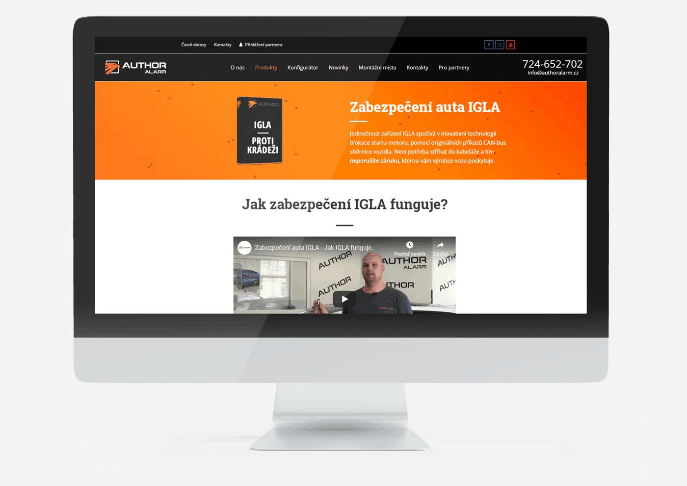 Webová stránka nad úrovňou monitoru